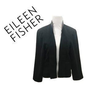 Eileen Fisher Size L Blazer Black Silk Leather